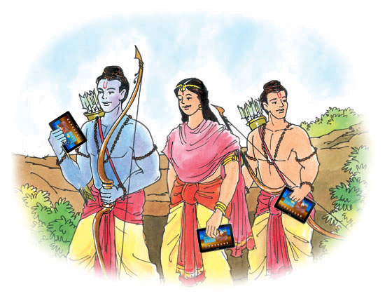 Lord Rama with his Samsung Galaxy Tab 750