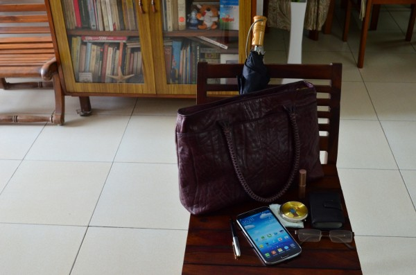 Samsung galaxy mega in a Working Woman's bag!