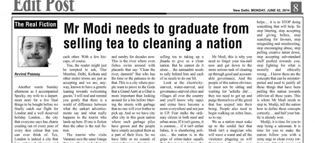 Mr Modi needs to graduate from selling tea to cleaning a nation