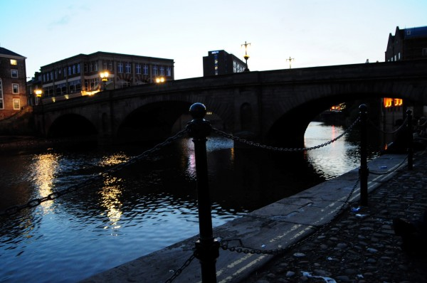 The eerie view of the Ouse from outside the King's Arms Inn in York...