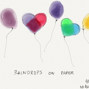 Raindrops on paper